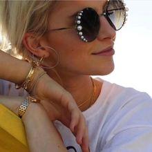 Венецианские круглые градиентные жемчужные солнцезащитные очки