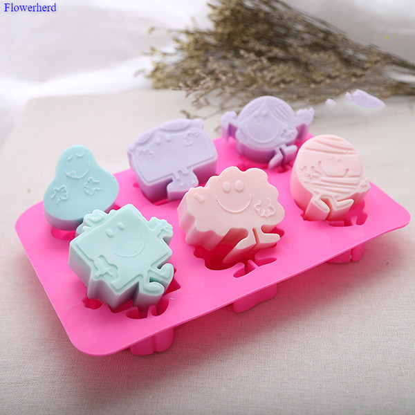 6 Cavities Food Grade Soft Silicone Cute SpongeBob SquarePants Handmade Soap Mold Cartoon Cake Silicone Mold Soap Making Set