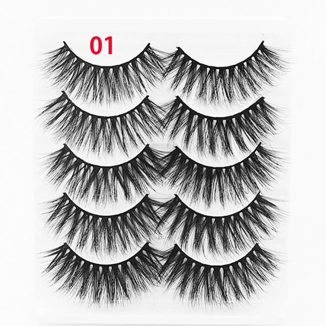 5Pairs New 3D Faux Mink Hair Soft False Eyelashes Fluffy Wispy Thick Lashes Handmade Soft Eye Makeup Extension Tools Wimpers 2