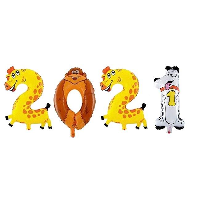 2021 набор фольгированных шаров с цифрами гелиевые шары новогодние фотография