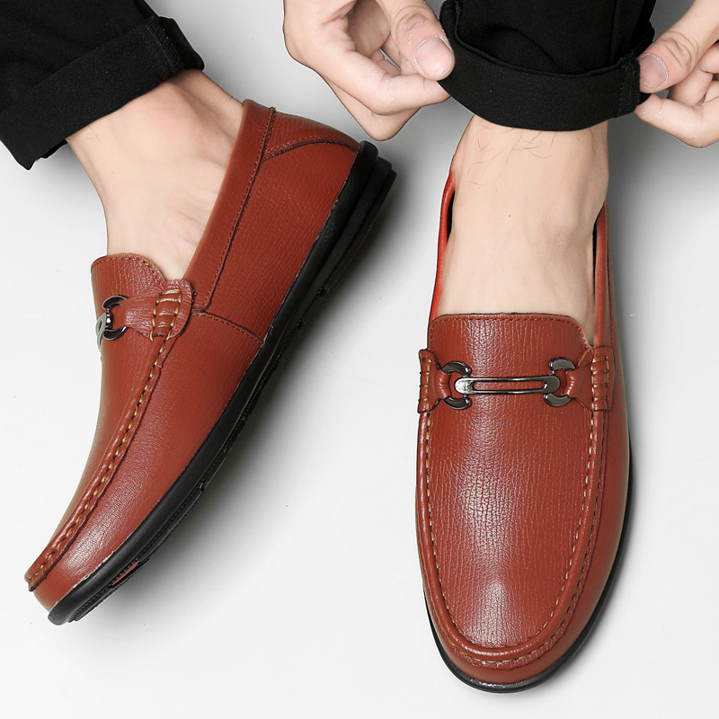 Classic Italian Shoes Men Large Size Wedding Shoes Men Elegant Brand Loafers Slip On Mens Genuine Leather Office Shoes