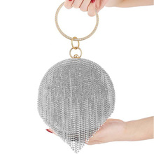 MONNET CAUTHY New Fashion Evening Bags Luxury Diamond Tassel Round Wedding Party Banquet Clutch Bag Black Gold Silver Chain Bags black glitter clutch bags with chain