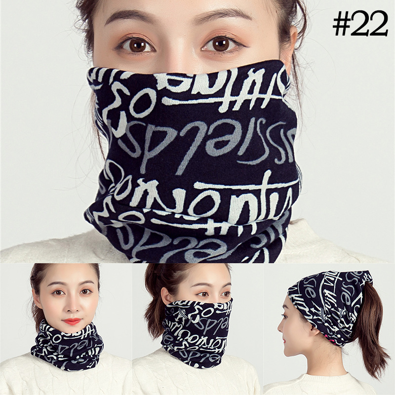 2019 Unisex Beanie Hats Ski Snood Scarf Women Hairband Letter Print Cashemere Scarf Femme Snood Neck Warmer Riding Face Mask