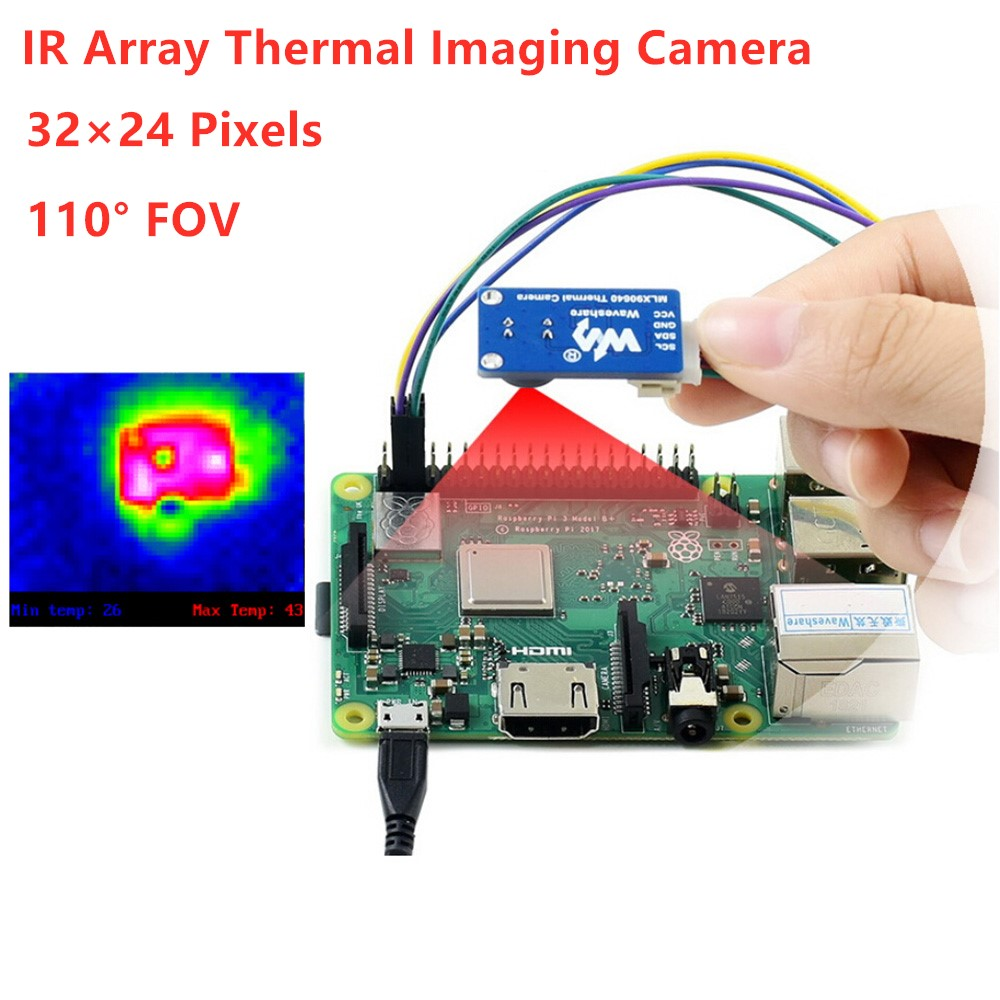 Waveshare MLX90640 IR Array Thermal Imaging Camera, 32×24 Pixels, 110° FOV