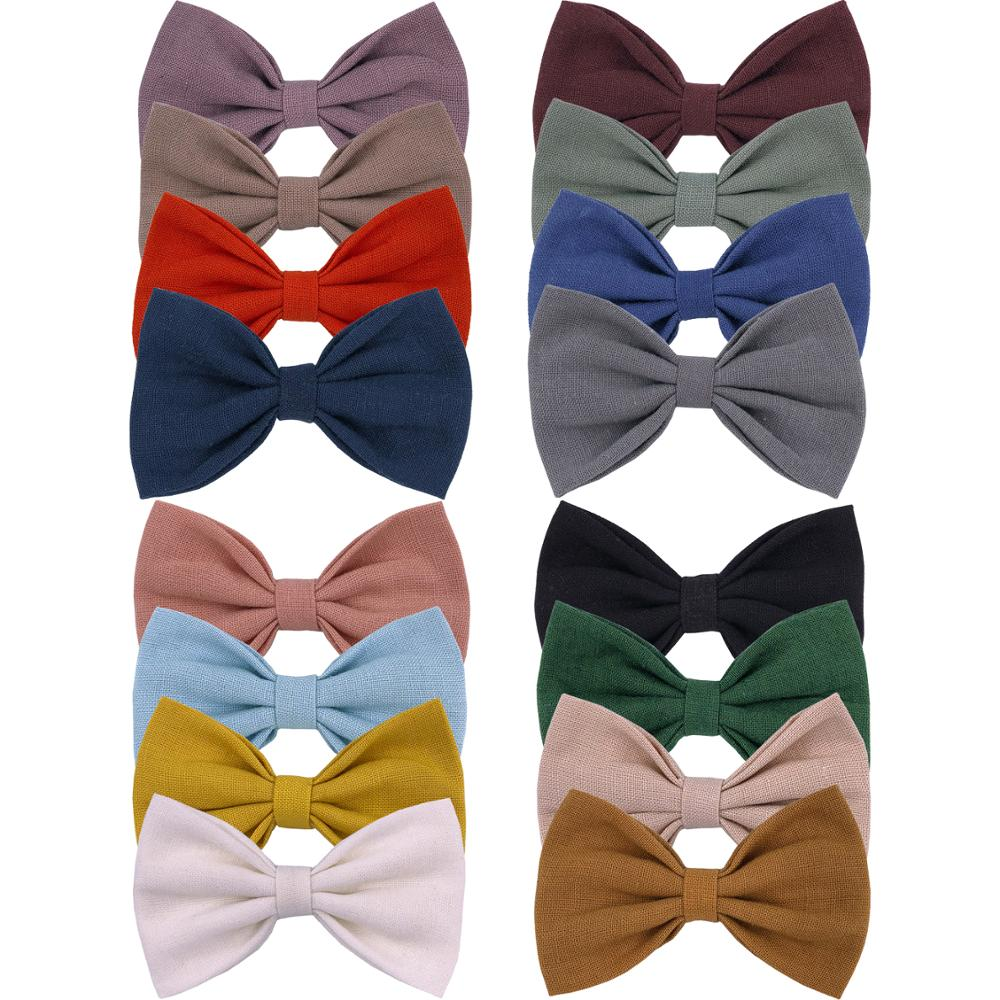 4 PCS Simple Cotton Linen Hair Bow Clips Barrettes Baby Girls Toddler Kids Classical Bow Headbands Baby Bow Hair Bands Accessory