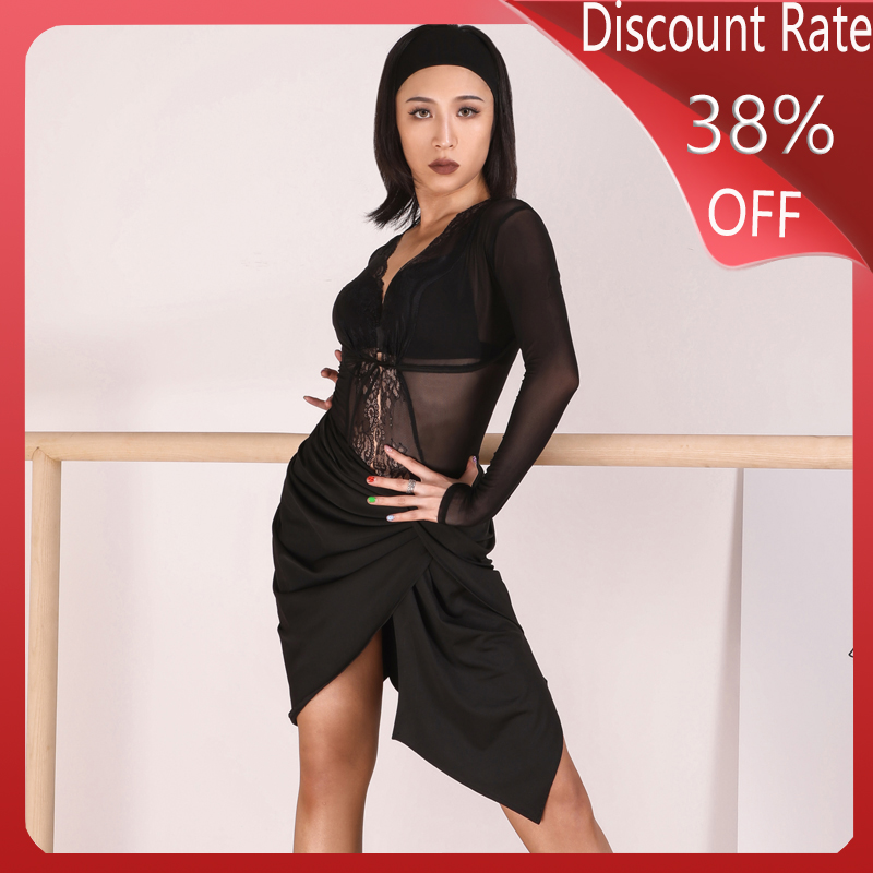 New Latin Dance Costumes Sexy Bodysuit Black Skirt Sets Latin Dance Competition Dresses Cha Cha Rumba Practice Clothes DQS3530