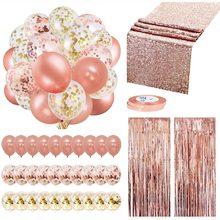 Rosa de ouro confetes balões festa decoração suprimentos conjunto dispossible talheres franja cortinas corredor mesa aniversário casamento