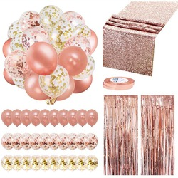 Rose Gold Confetti Balloons Party Decoration Supplies Set Dispossible Tableware Fringe Curtains Table Runner Birthday Wedding