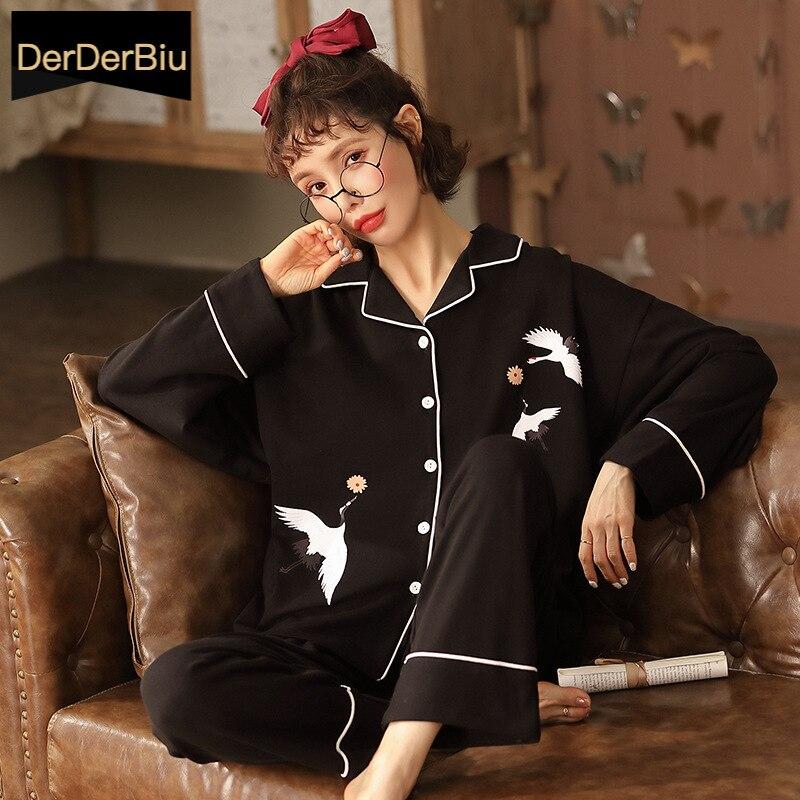 Black Cotton Women's Sleepwear Spring Winter Pajama Set Long Sleeve Home Clothes Pyjama Femme pijama Lounge Wear Large Size XXXL