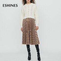 ESHINES/Высококачественная Осенняя миди плиссированная юбка в английском стиле с эластичной резинкой на талии, цветная клетчатая юбка для под...