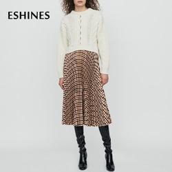 ESHINES Hohe Qualität Herbst Midi Plissee Rock England Stil Elastische Taille Farbe Plaid Rock Runway Designer Chic Rock