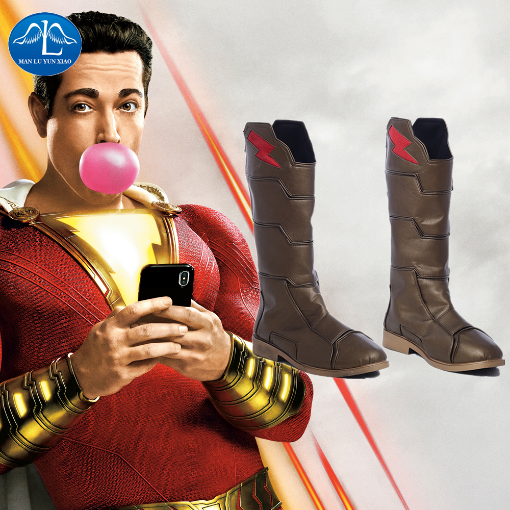 Captain Marvel Billy Batson Shazam Cosplay Comic Con Men Fashion Shoes Boots New