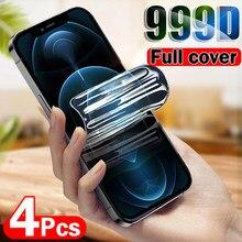 Protetor de tela do filme do hidrogel de 4 pces para o iphone 11 12 pro x xr xs max película protetora macia para o iphone 6 7 8 mais protetor de tela