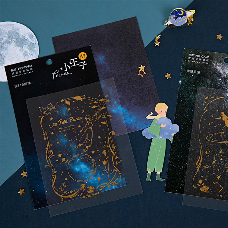 Little Prince Stickers Set PET Waterproof Gilding Color Fairy Tale Sticker Adhesive Note Decoration DIY Diary Gift E6508