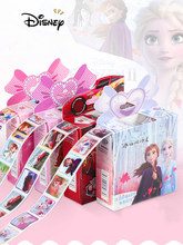 Boîte de 200 autocollants Disney décollables pour enfant, stickers motif reine des neiges 2, Elsa et Anna, princesse Sofia, voiture, poney, dessin animé,