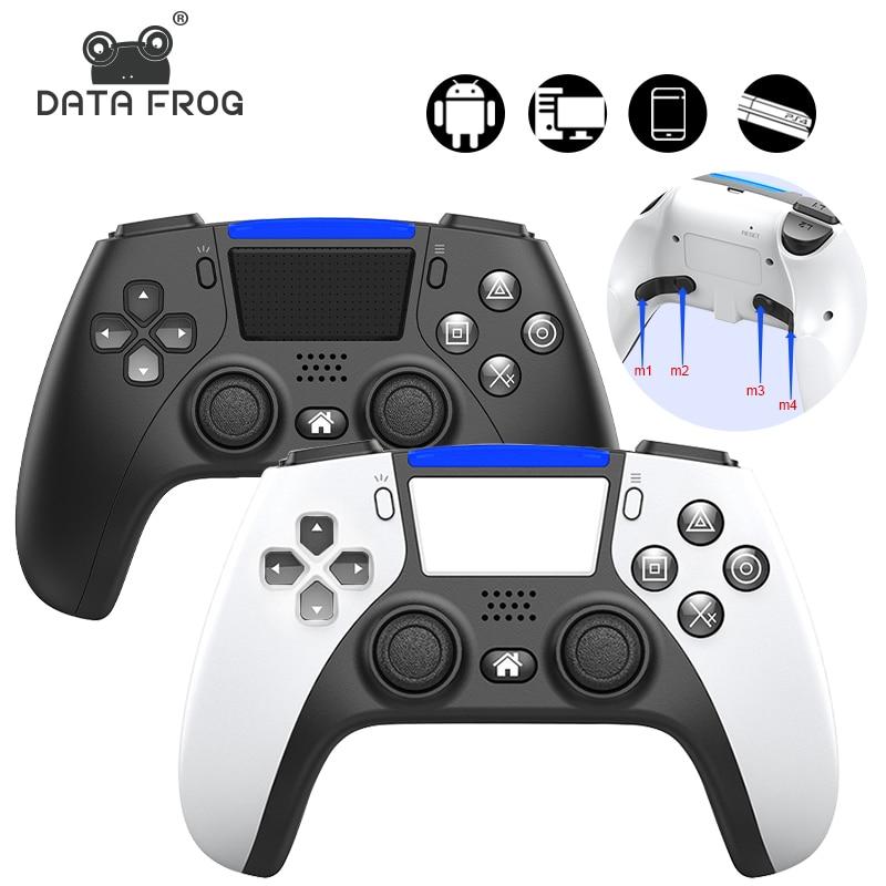 Controlador sem fio do jogo de bluetooth da rã dos dados para o console ps4 para o estilo ps5 gamepad dobro do jogo da vibração para o telefone do pc/android