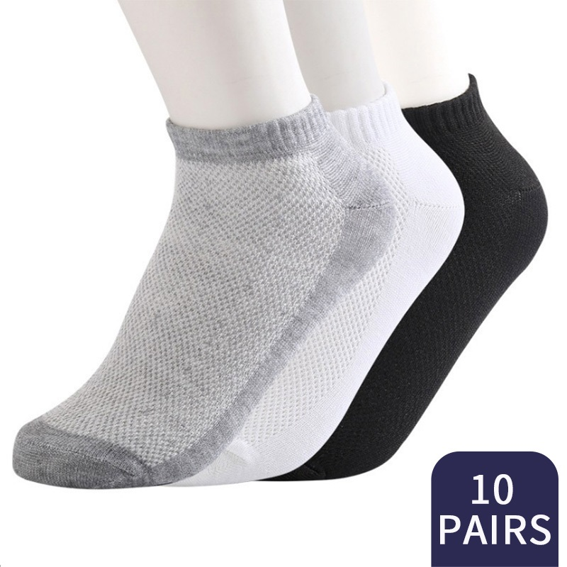 20Pcs=10Pair ECMLN Breathable Men's Socks Short Ankle Summer Elastic Men Solid Mesh High Quality Male Cotton Socks Hot Sale 2020