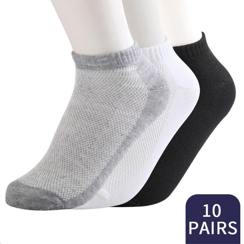 20Pcs=10Pair ECMLN Breathable Men's Socks Short Ankle Summer Elastic Men Solid Mesh High Quality Male Cotton Socks Hot Sale 2020