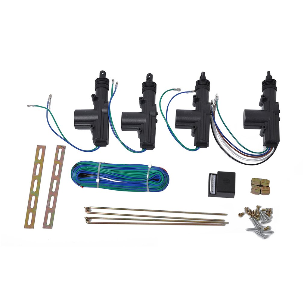 12V 4Pcs Auto Door Lock Actuator Kit 2 Wires & 5 Wires Auto Locking System Motor Car Remote Control Central Locking Set