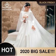 Musulmano Raso Una Linea di Abito Da Sposa Swanskirt WZ01 Elegante O Collo Manica Lunga Treno Della Corte Della Principessa Abito Da Sposa Vestido de novia