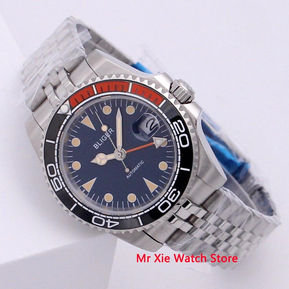 Bliger 40mm Automatic Mechanical Watch Men Business Sapphire Crystal Vintage GMT Watch Luminous Waterproof Calendar Wristwatch