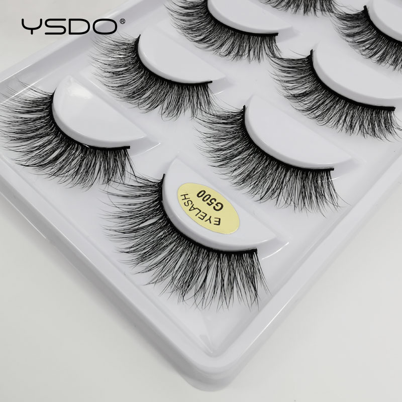 5 Pairs Eyelashes Cruel-free Mink Lashes Makeup False Eyelashes Cilios Plastic Cotton Stalk Natural Mink Eyelashes Extension G5