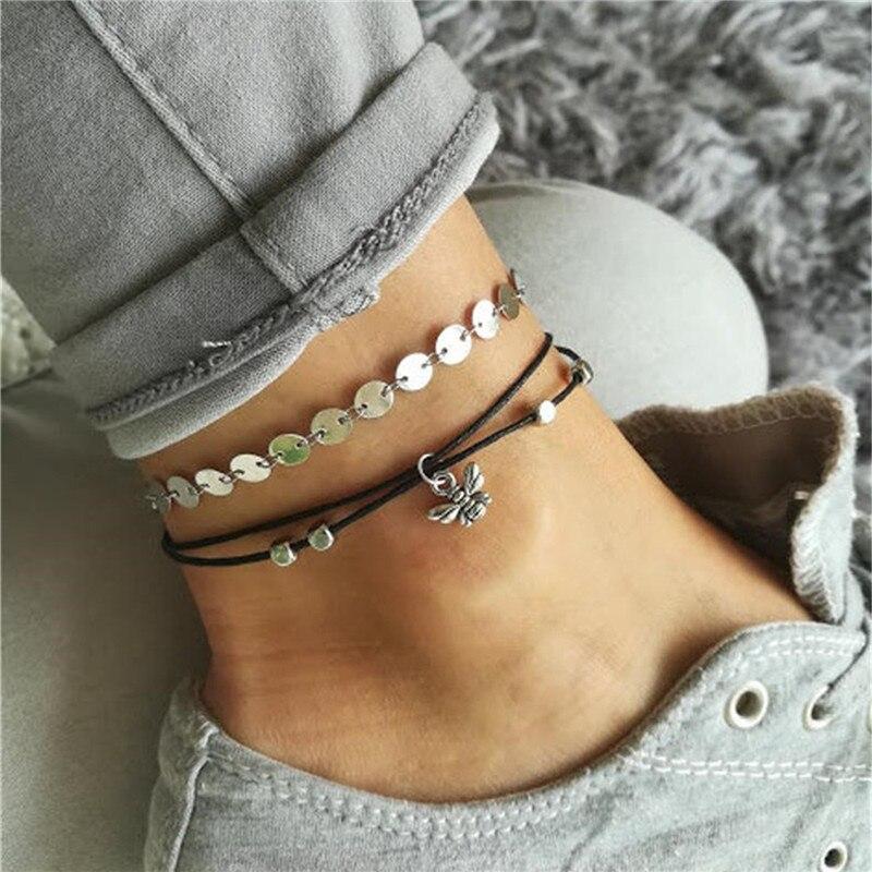 100% Handmade Women Ankle Bracelet Hot Sale Vintage Silver Color Bee Wafer Chain Anklets Summer Gift