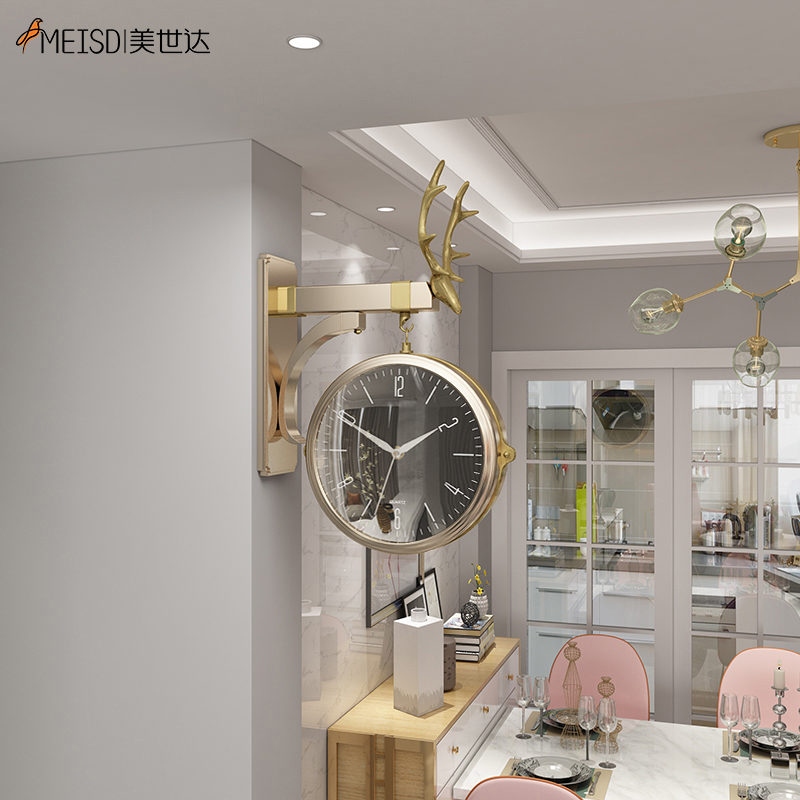 MEISD Quality 3D Wall Hanging Clock Double Side Quartz Metal Deer Watch Wall Decoration Living Room Horloge Free Shipping Hot