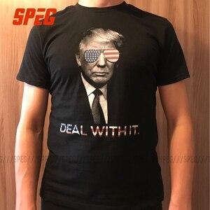 Image 5 - Humorvoll T Shirts Trump Deal mit es Amerika Casual Tee Shirts Erwachsene Crewneck Kurzarm Kleidung Freizeit T Shirts Männer Vintage