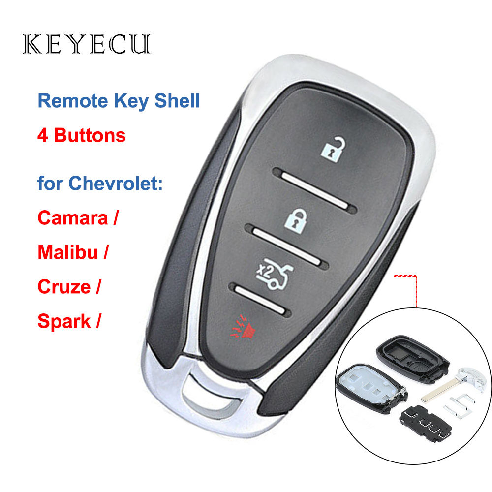 Keyecu Shell Only Remote Car Key Case Cover 4 Buttons for <font><b>Chevrolet</b></font> Camara Malibu Cruze <font><b>Spark</b></font> 2016 <font><b>2017</b></font> 2018 image