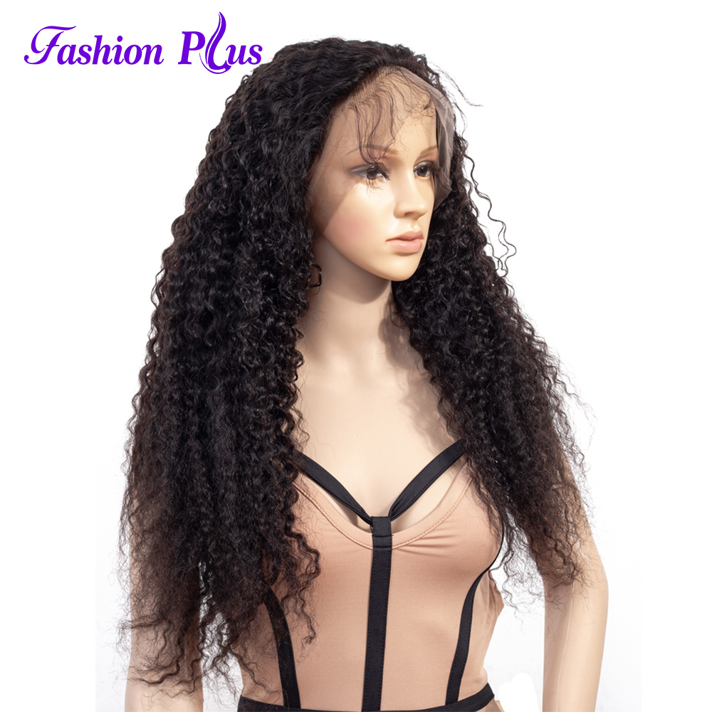 Fashion Plus Full Lace Wigs Curly Wigs With Baby Hair For Women 150% Density Remy Brazilian Hair Transparent Mediem Brown Lace