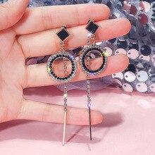 S925 silver needle with two earrings Korea asymmetric long tassel retro studded fashion women