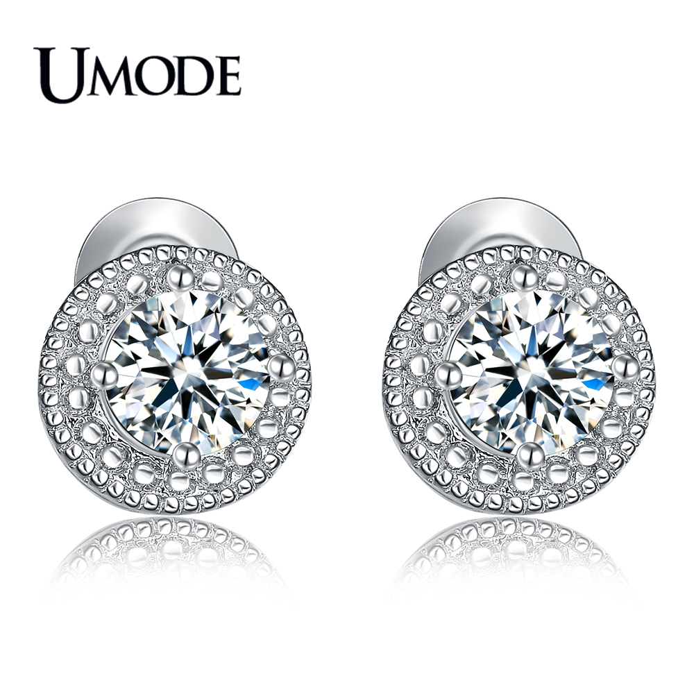 UMODE Brand Designer Fashion Popular Crystal Stud Pendientes para mujer Oro blanco Color redondo CZ Boucle D'Oreille Regalo caliente AUE0259