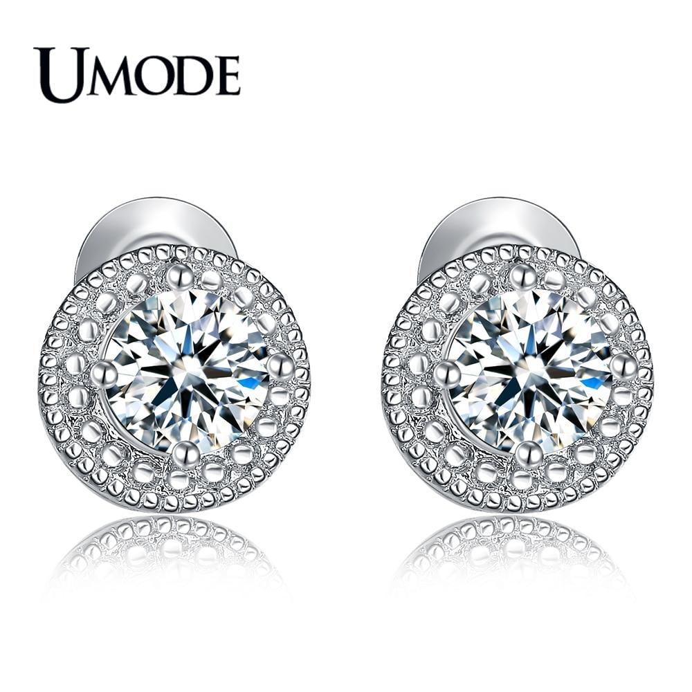 UMODE Brand Designer Mode Beliebte Kristall Ohrstecker für Frauen Weißgold Farbe Runde CZ Boucle D'Oreille Heißes Geschenk AUE0259