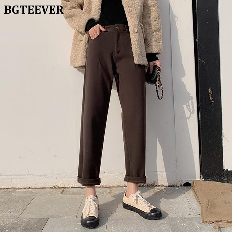 BGTEEVER High Waist Pockets Thick Straight Pants Women Winter Woolen Pants Female Solid Warm Trousers Capris femme 2020 Spring