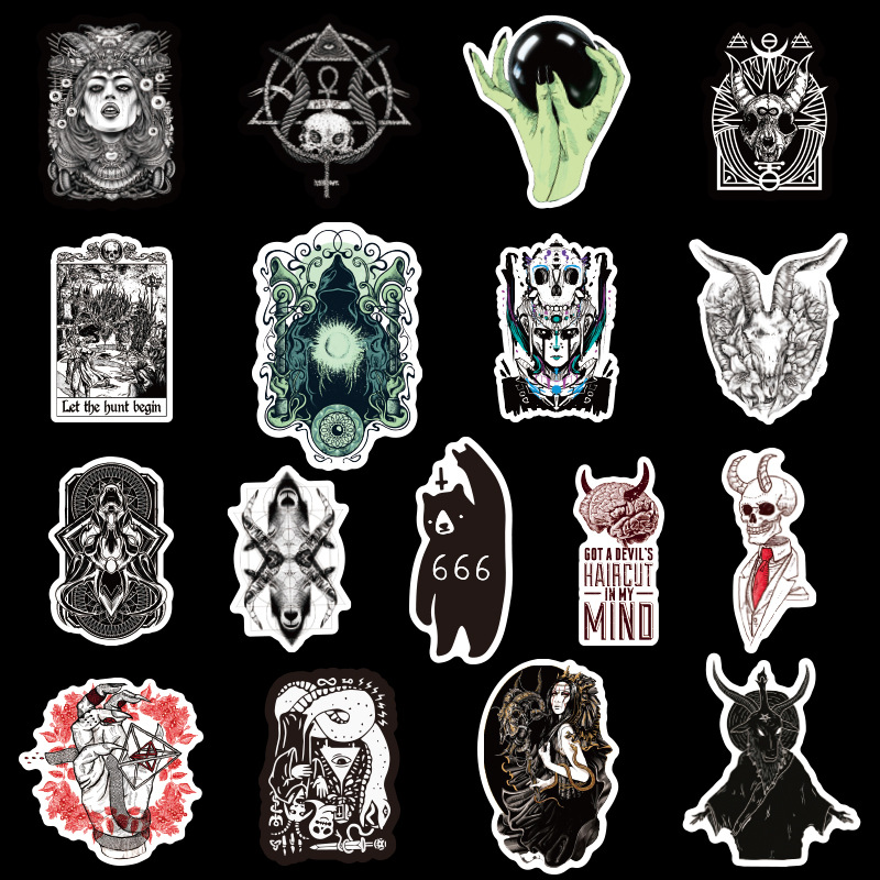 50PCS Gothic Demon Black And White Punk Style Gothic Sticker For Laptop Skateboard Bicycle Decal Pegatinas Toy Stickers F4