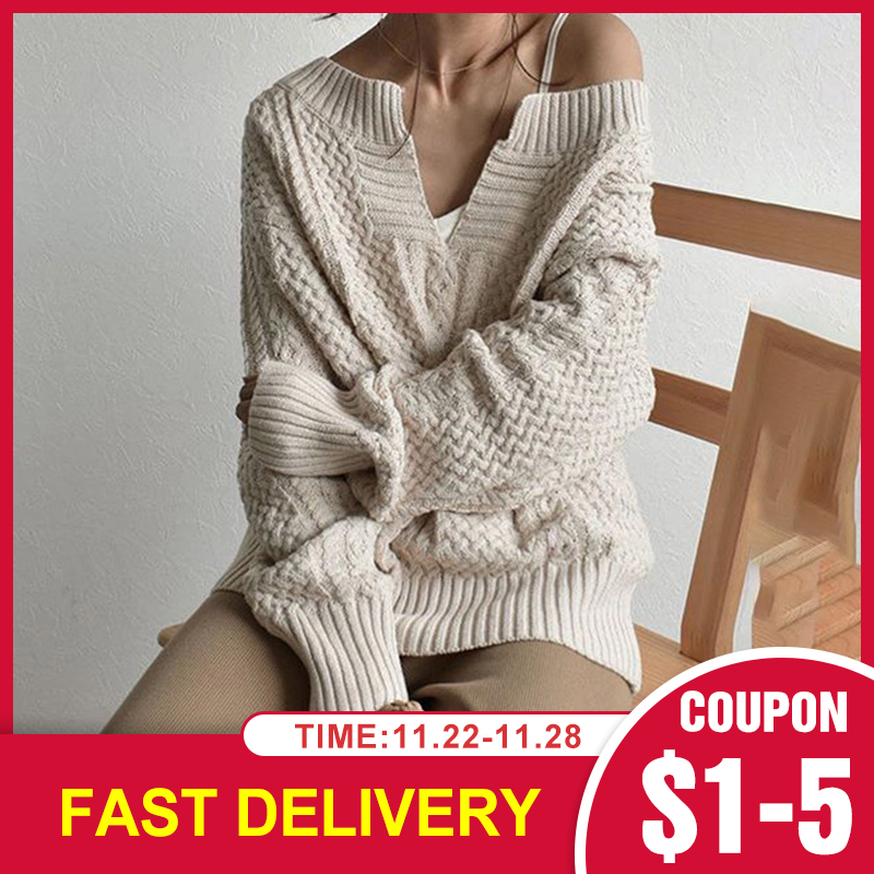 Winter Knitted Sweater Female Autumn V Neck Sexy Casual Loose Solid Color Pullovers Knitwear Women OL Tops Jumper Pull Femme