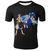 Anime Fairy Tail Etherious • Natsu Dragneel Lucy Heartfilia t-shirt mens round neck pullover loose trend tops