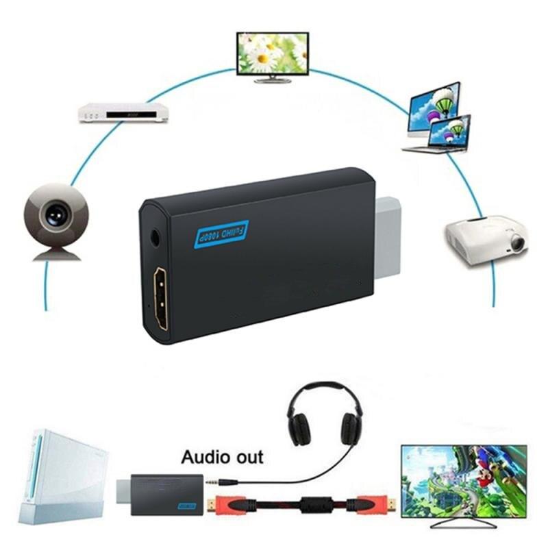 Wii para hdmi-compatível completa hd 1080p 3.5mm saída de áudio jack conversor slidecard clister adaptador para computador wii modos de exibição