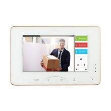 Hikvision OEM 7 дюймовый Цвет сенсорный Экран видео домофон DS-KH8301-WT Крытый видео-дисплей СИД Поддержка IP Камера сигнализации