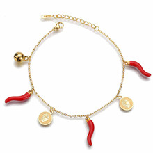 Personality Little Bell Chili Red Pepper Woman's Bracelet Elizabeth Queen Coin Bracelets Stainless Steel Fashion Jewelry 20mm rose gold and silver 3d chili charm chili pepper stainless steel pendant diy earrings necklace accessories sale by package