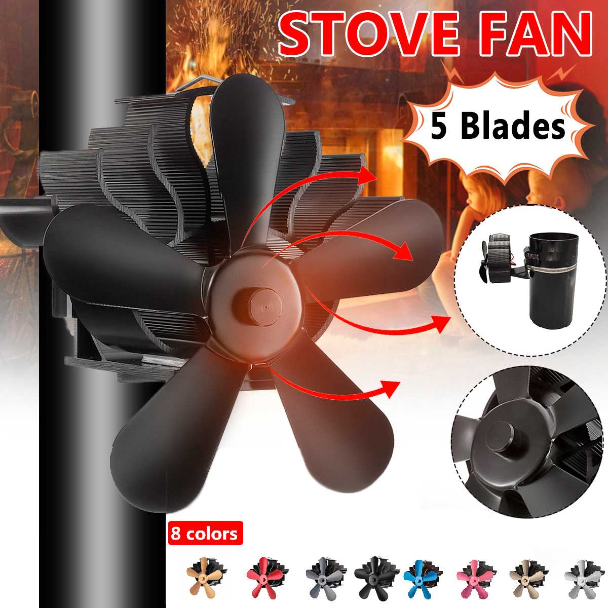 Mouted Type Black 5 Blade Heat Powered Stove Fan Komin Log Wood Burner Eco Friendly Quiet Fan Home Efficient Heat Distribution