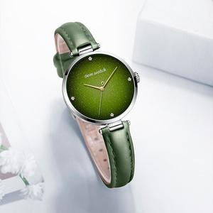 Image 2 - DOM Top Luxury Fashion Female Quartz Wrist Watch Elegant Green Women Watches Leather Waterproof Clock Girl Pattern Watch G 1292