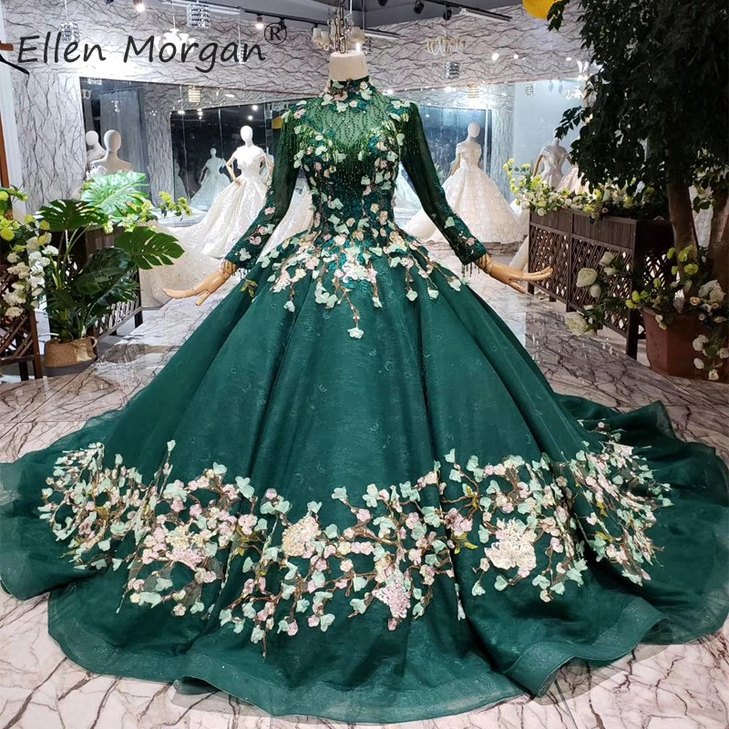 Dark Green Muslim Wedding Dresses Vintage 2019 Lace Long Sleeves High Neck No Veil Applique Court Train Bridal Ball Gown Women