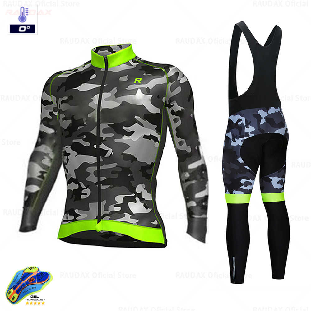 2020 Aleing Camouflage Winter Thermal Fleece Cycling Clothes Men's Jersey Suit Outdoor Riding Bike MTB Clothing Bib Pants Set