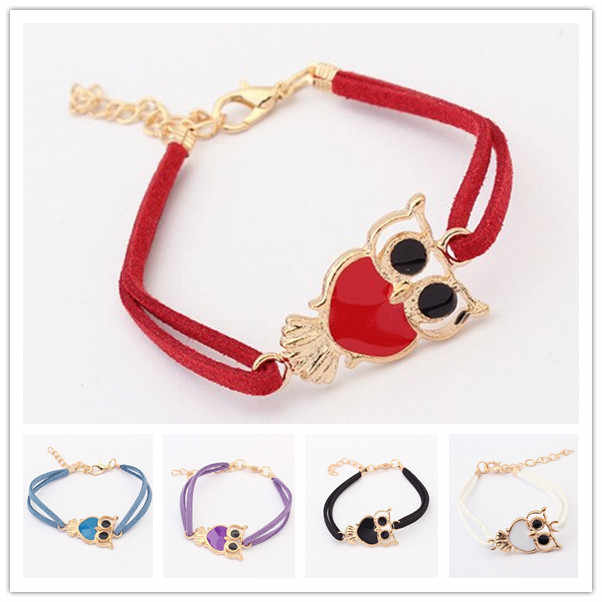 Moda złota ozdoba z sową bransoletka mankietowa Cute Animal Rope skórzana bransoletka Wrap czarne opaski dziewczyna dzieci dziecko kobiety biżuteria prezenty