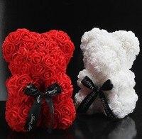 Oso de peluche rosa Artificial, flor blanca de 25CM, regalo de San Valentín, cumpleaños y Navidad