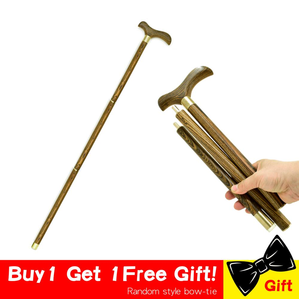 3-Sections Wood Cane Walking Stick Wooden T Straight Grip Handle Stick Foldable Vintage Wood Gentle  Walking Cane Stick Canes