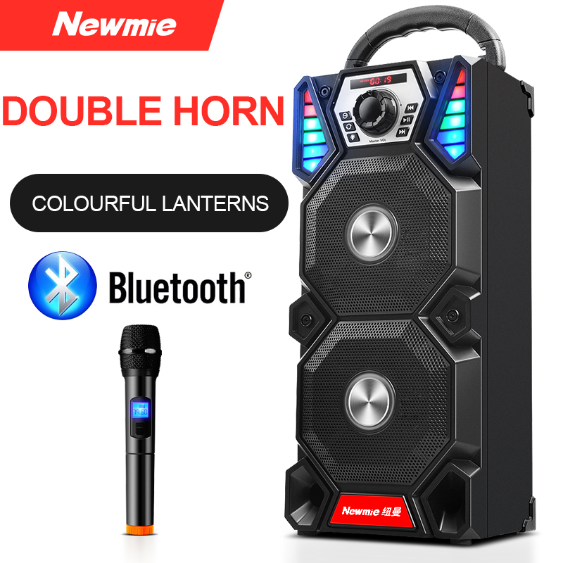 Newmine A1 Outdoor LED Light Bluetooth Speaker Wireless Support TF Card FM Mic Square Party Pull Rod KTV Portable Subwoofer 1