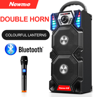 Newmine A1 Outdoor LED Light Bluetooth Speaker Wireless Support TF Card FM Mic Square Party Pull Rod KTV Portable Subwoofer